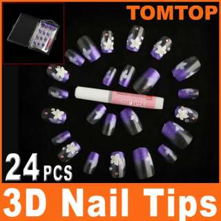 24 PCS 3D Nail Tips Pre Design Airbrush False Finger Nails Art Suit