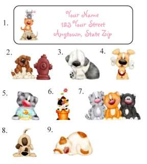 Personalized Fluffy Adorable CATS & DOGS Address Labels