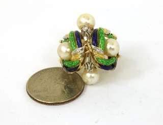 STYLISH VINTAGE 18K GOLD, DIAMOND & PEARL ENAMEL RING