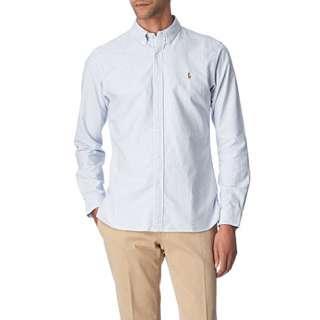 RALPH LAUREN Striped Oxford custom–fit single cuff shirt