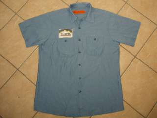 vtg BUSCH BEER WORKSHIRT delivery guy uniform patch L