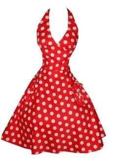 Hell Bunny 50s Sun Rot Polka Dots Kleid  Bekleidung