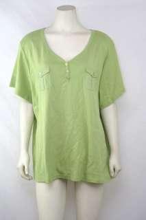 Karen Scott NEW Plus Sz 3X/22W/24W 100% Cotton Green Knit Henley Top