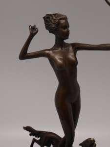 Josef Lorenzl Bronze of Diana Huntress   Art Deco Style