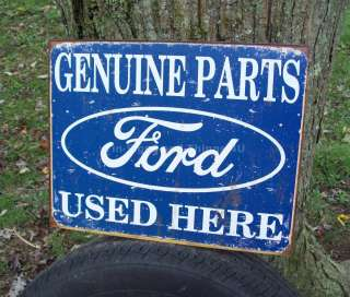 Parts Used Here TIN SIGN vtg garage ad sold service rustic car truck
