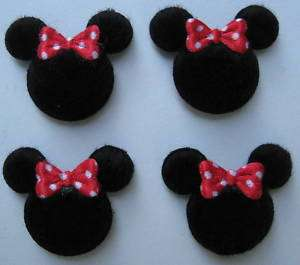 Padded Furry Felt MINNIE Mouse Head Appliques Red Hair Bow MTM