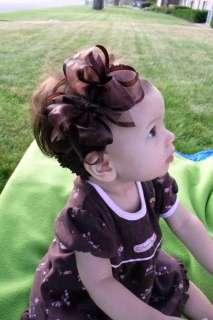 Boutique BIG Hair Bow Headband BROWN Organza Cicis