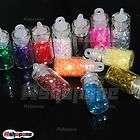 12 Mini Bottle Set Glitter Hexagon Nail Art Tips Rhinestone Decoration