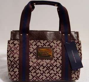 NWT Tommy Hilfiger Logo Brown Tote Handbag Bag Purse