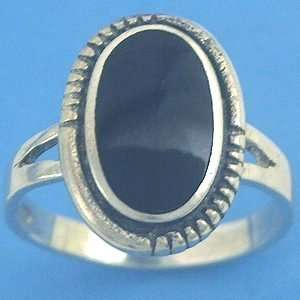 R254N Sterling Silver Black Onyx Ring Size 7 Free S/H