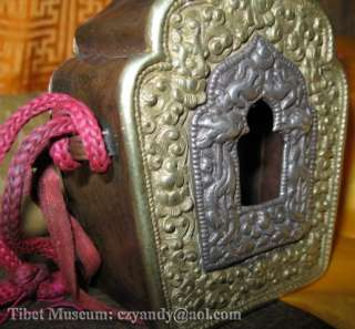 Amazing Old Antique Tibetan Buddhist Pure Silver Copper Gau Shrine Box