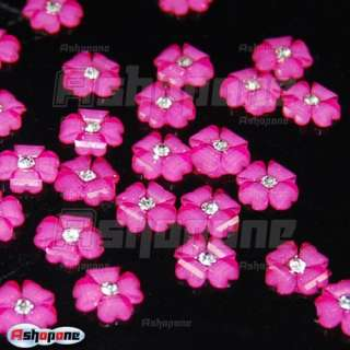 20x Hot Pink Acrylic Flower Rhinestones For 3D Nail Art Tips