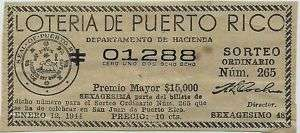1944 BILLETE LOTERIA 10 cts PUERTO RICO Lottery Ticket