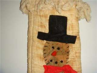 Primitive Snowman Christmas Stocking Handmade Quilted
