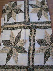 Brown & Yellow Star Cheater Cotton Double Quilt Top