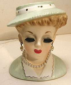 VINTAGE c1963 INARCO LADY HEAD VASE HEADVASEE 696/S GREEN HAT PEARL