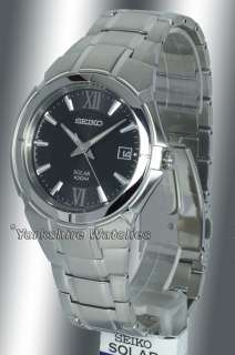 Seiko Solar Black Dial Stainess Steel Bracelet SNE087P1