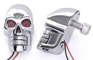 Skull Totenkopf Led Licht Metall Custom Chrom für Harley Hot Rod