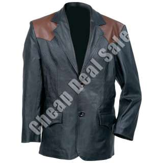 Mens Solid Black Leather Western Jacket Sport Coat 2XL 2X XXL Brown