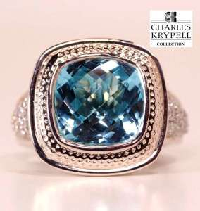 Charles Krypell 14K Gold/ Silver 9.42 Carats Blue Topaz & Diamond Ring