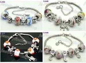4pc mixed murano glass beads European charm bracelet 12