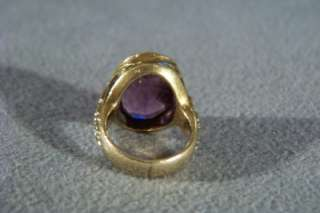 ANTIQUE 14 K YELLOW GOLD AFRICAN AMETHYST BOLD RING 6