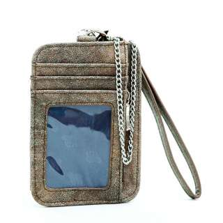 Cell phone iphone/ ipod case wallet w/ removable chain   brown