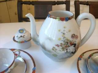 Antique Japanese tea set vtg crane kutani imari porcelain art teapot