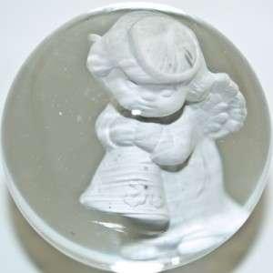 Marble Jim Davis Cherub Angel w/ Bell Sulphide