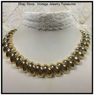 Vintage 1980s Gold Tone Choker Necklace