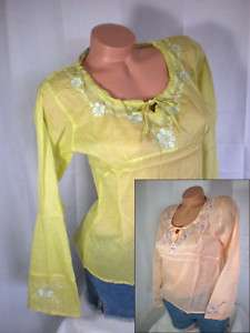 Green Pink embroidered light cotton shirt top blouse M
