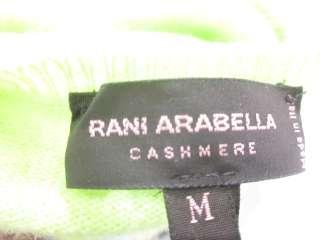 RANI ARABELLA Lime Green Argyle Cashmere Sweater Sz M