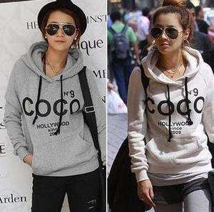 Korean Style Casual Women Letters Hoodie Sweat Outerwear Coat C007