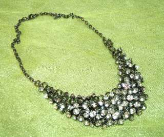 Statement Clear Crystal Rhinestone Cluster Bib Necklace