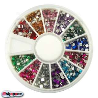 Glitter Square Nail Art UV Acrylic Tips Rhinestones Wheel
