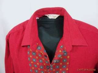 . Red Wool Pattern Flannel Vtg Designer.Shirt.Mens 16 1/2 42.Italy