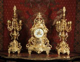 ORIGINAL ANTIQUE FRENCH CLASSICAL GILT BRASS CLOCK SET SUPERB C1880