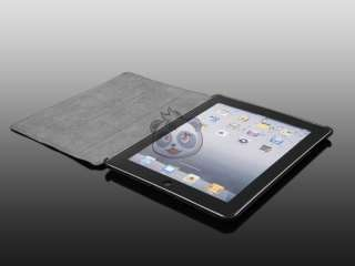 NEW iPad 2 Slim PU Leather Smart Cover Stand Magnetic Hard Case Black