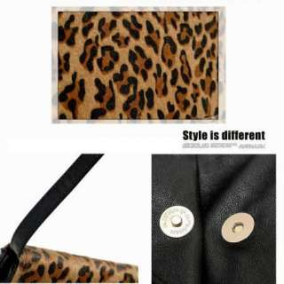 New Leopard Chetah Print Faux Leather Handbag Envelope Clutch bag OL