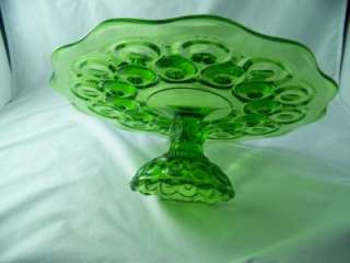 SMITH GLASS CO MOON AND STAR ANTIQUE GREEN LOW CAKE PLATE # 4202