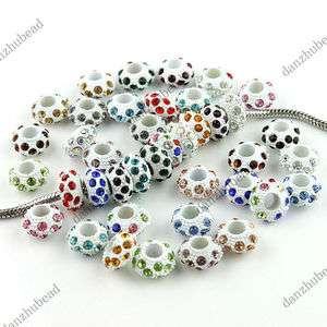 MIX COLOR CRYSTAL RESIN EUROPEAN CHARM BEADS FINDINGS WHOLESALE LOTS