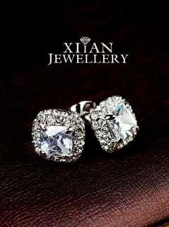 925 Silver SP Cushion Cut Swarovski Crystals stud Earrings, E580