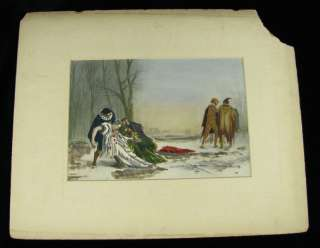 Vintage Jester Clown Opera? Duel Hand Colored Print