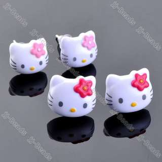 New Acrylic Enamel Pink & Red Hellokitty Ear Cat Studs Earrings