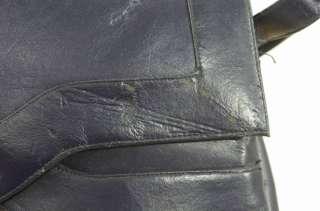 Vintage 60s 70s Lou Taylor Navy Blue Handbag Purse Pivot Mirror