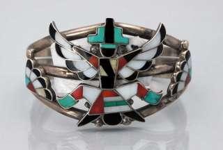 Vintage Zuni Indian Inlay MOSAIC KNIFEWING Silver Bracelet  FRANK