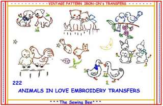 DESIGN 222 ANIMALS IN LOVE, EMBROIDERY TRANSFERS