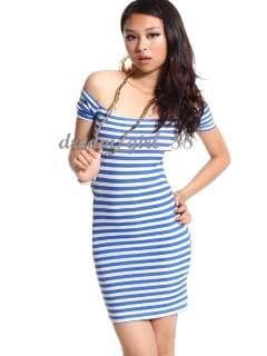 Women Short Sleeve Naval Style Off Shoulder Mini Dress