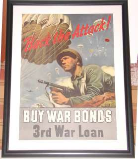 Back The Attack Original Buy World War II Bonds Poster