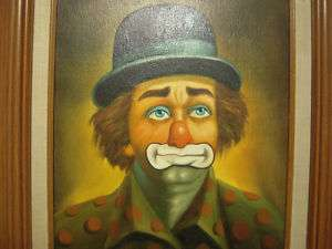 Vintage Miller Oil Painting Sad Blue Hat Clown Signed 16 Height X 12
